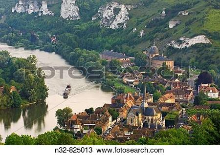 Stock Photo of Meander of Seine river, Les Andelys Seine valley.