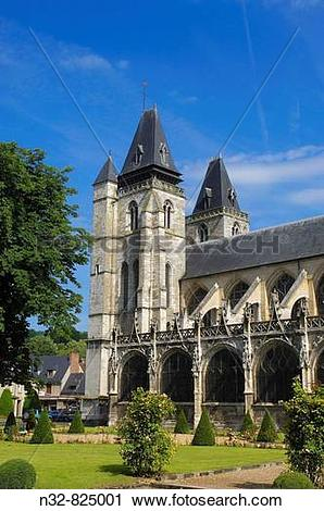 Stock Photography of Notre Dame Church, Les Andelys Seine valley.