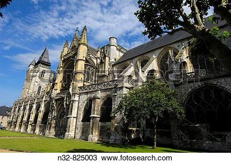 Stock Photo of Notre Dame Church, Les Andelys Seine valley.