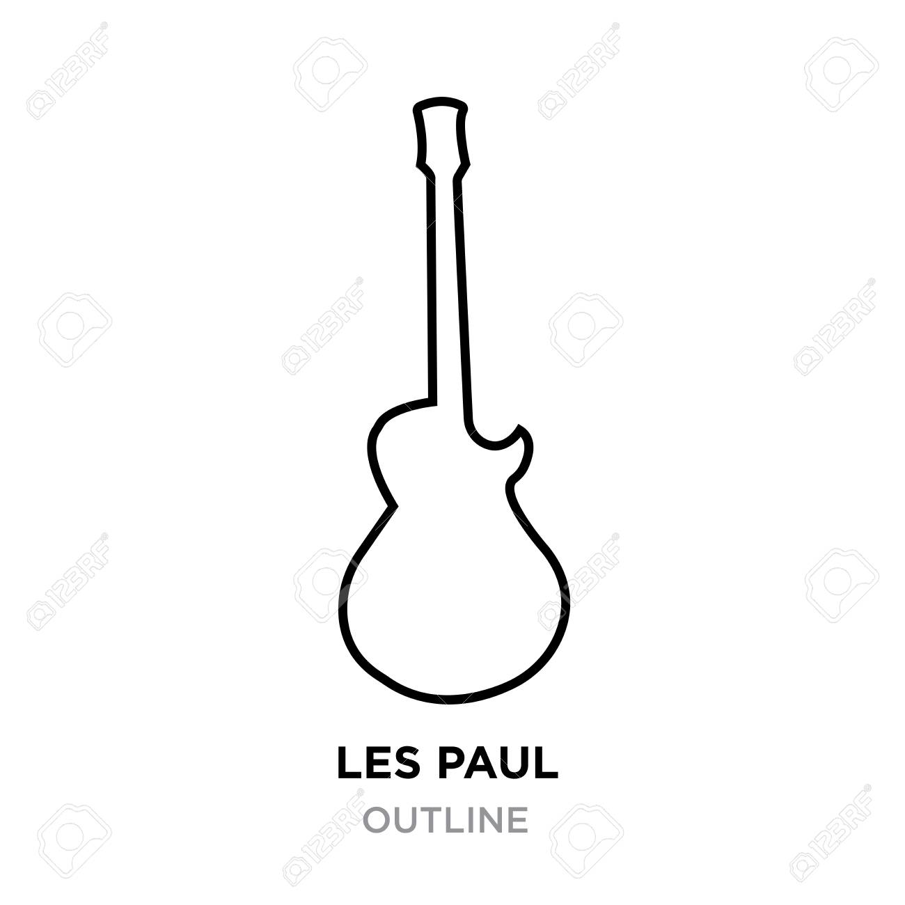 Image Les Paul outline on white background, vector illustration.