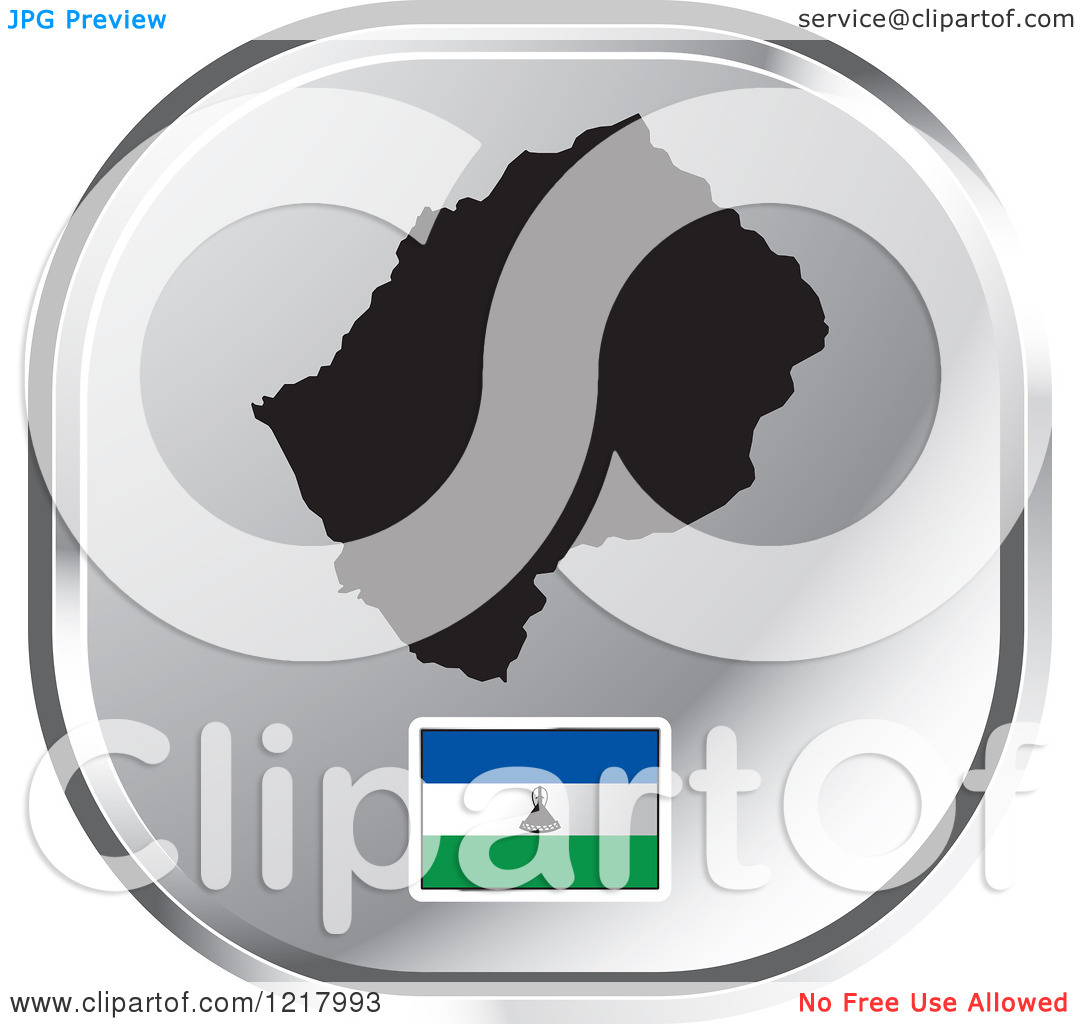 Clipart of a Silver Lesotho Map and Flag Icon.