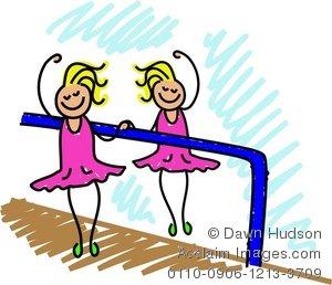 Clipart Illustration of a Little Girl Having Ballet Lessons.