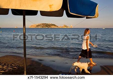 Stock Photo of L?Estartit Gran beach In background Medes Islands.