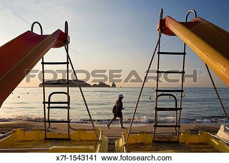 Stock Photography of L?Estartit Pedal boats in Gran beach In.