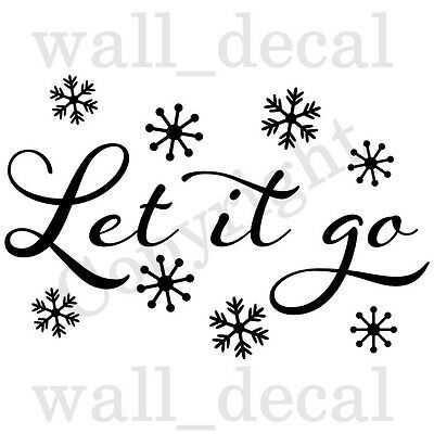 Let It Go Disney Frozen Elsa Anna Olaf Snowflakes Wall Decal Vinyl Sticker  Quote.