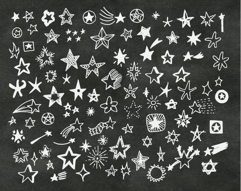 Hand Drawn Doodle Stars Scrapbook Clipart, Stars Photoshop.