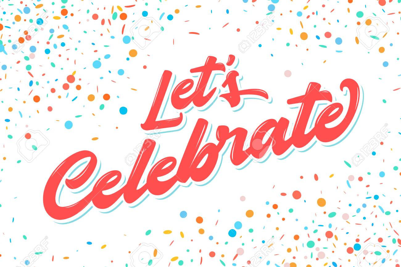 Let's celebrate banner. Vector lettering. Vector hand drawn illustration..