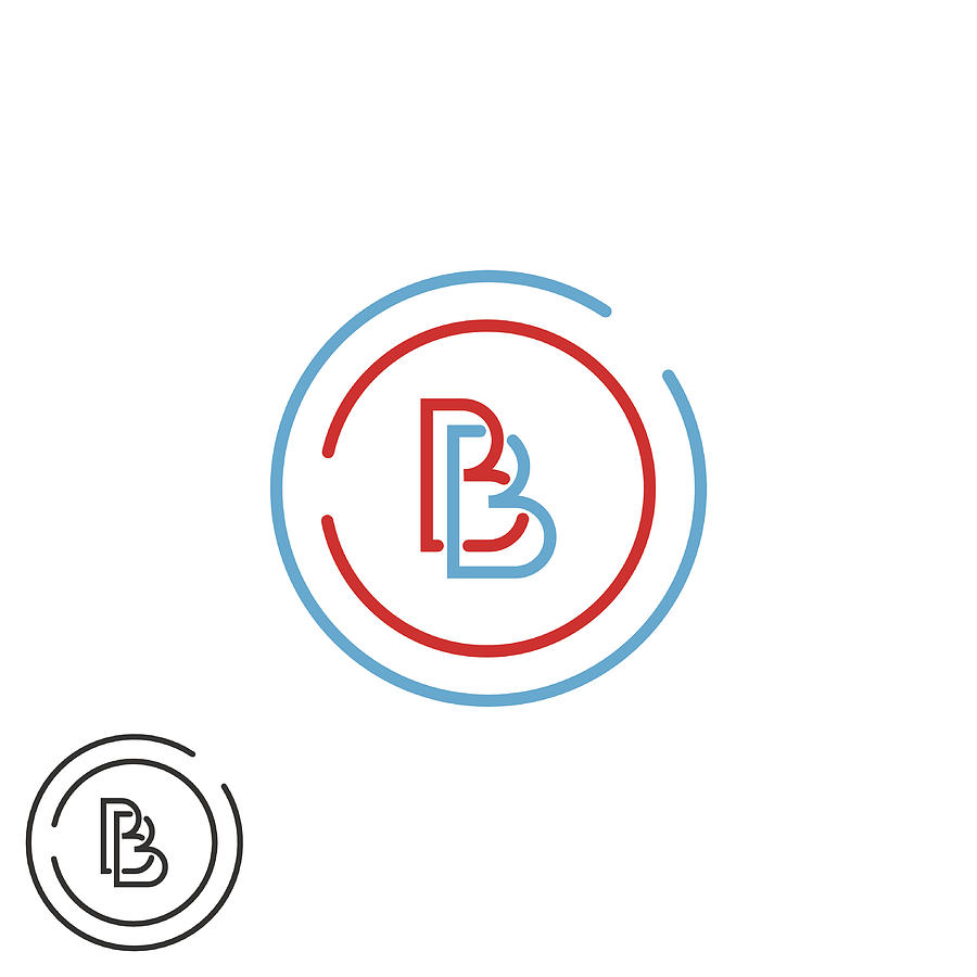 Two Letter B Logo Monogram, Bb Overlapping Imitials Circle Frame by Uasumy.