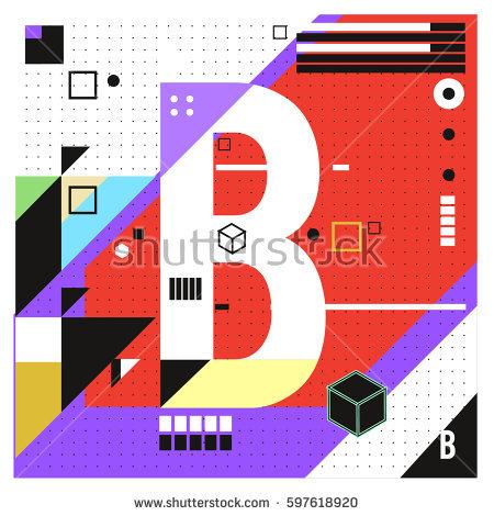Vector Letter B Memphis Style Geometrical Stock Vector 597684803.
