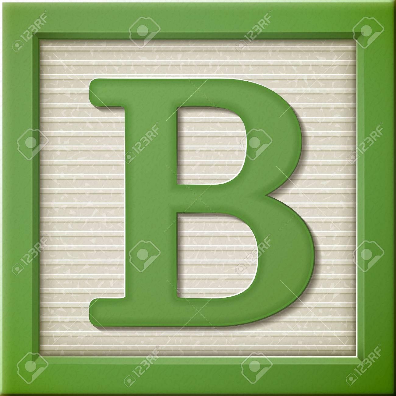 close up look at 3d green letter block B.