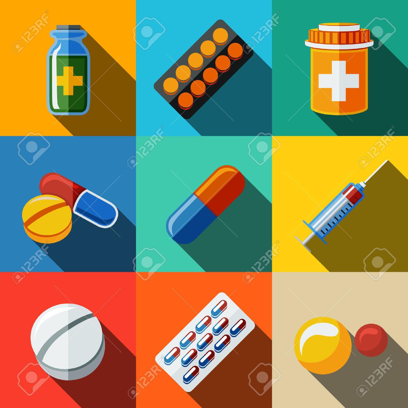 Box of little red pills clipart.