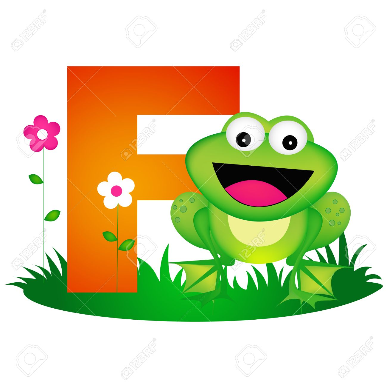 Colorful animal alphabet letter F with a cute frog flash card...