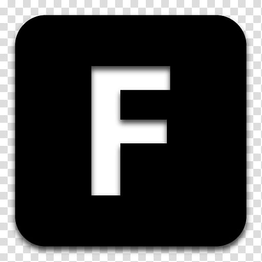 Black n White, white and black letter F icon transparent.