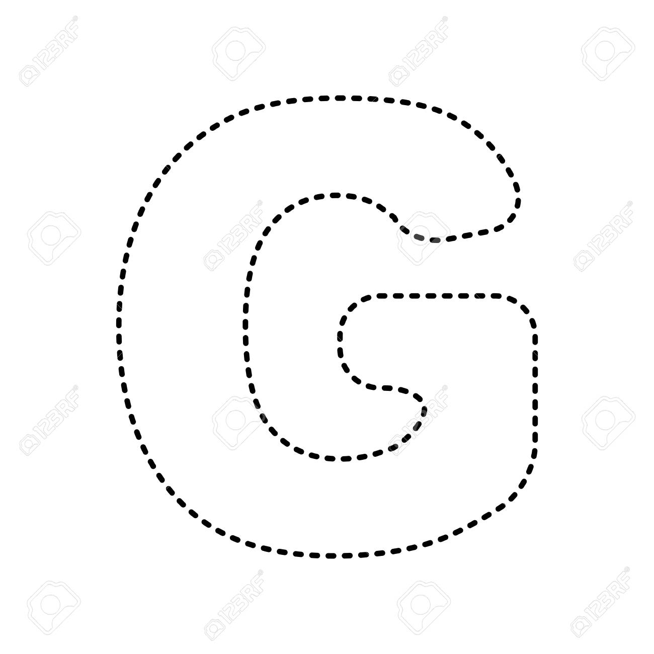 Letter G sign design template element. Vector. Black dashed icon...