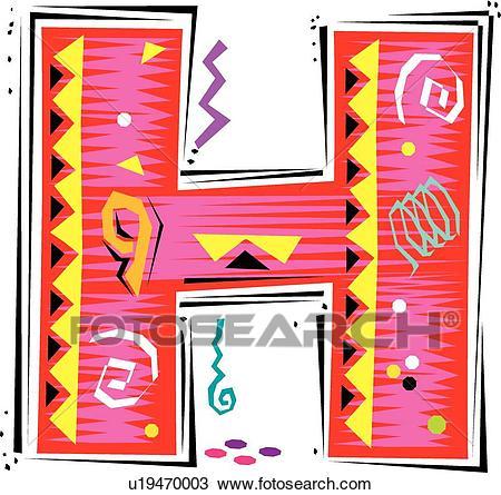 Fiesta I letter H Clipart.
