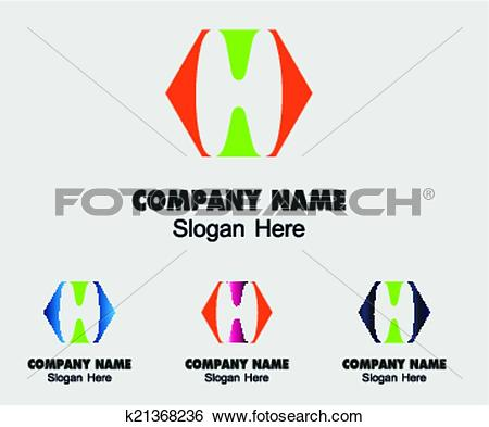 Clip Art of Letter H Company logo icon template k21368236.