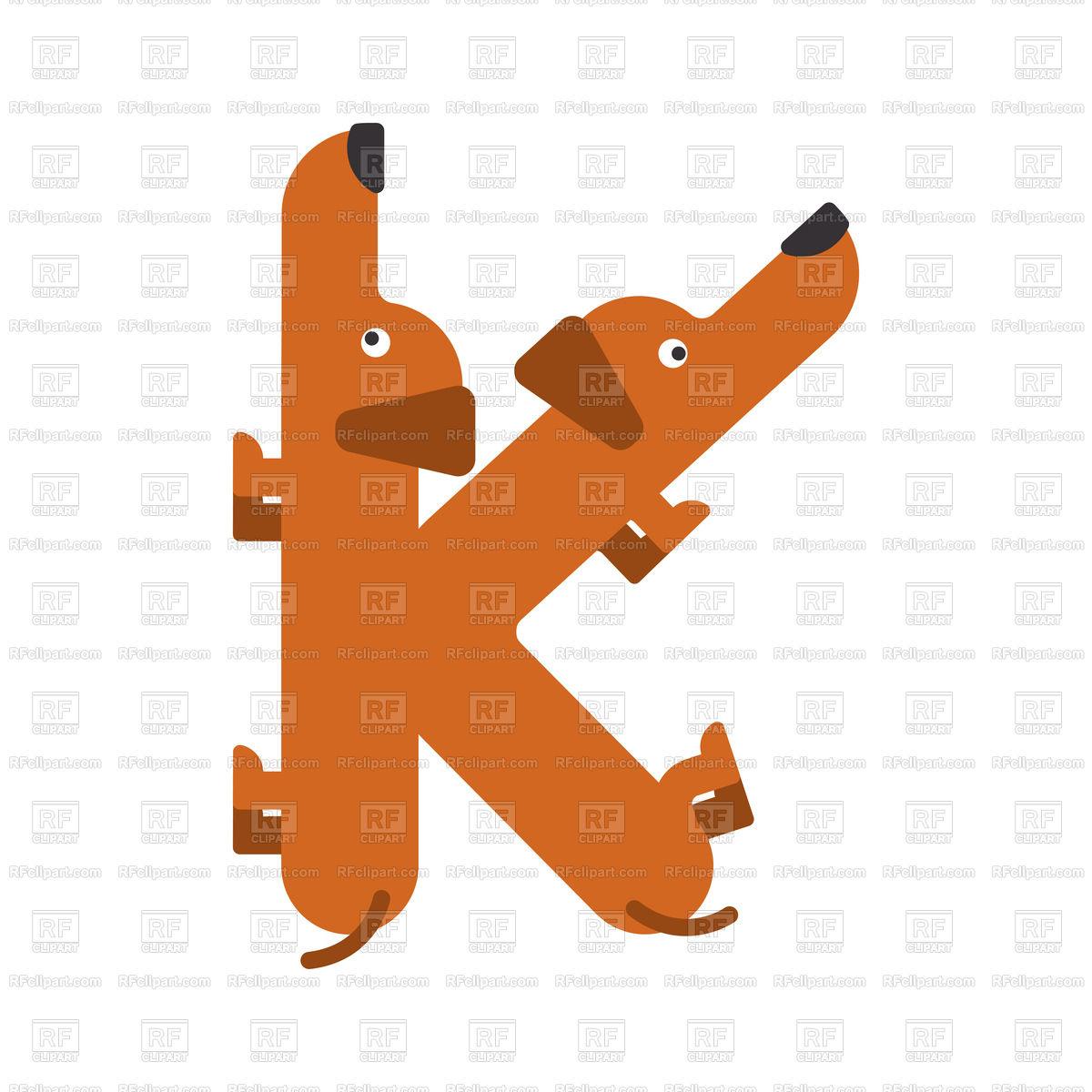 Letter K dog font Stock Vector Image.