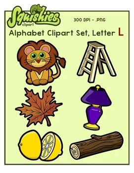 Alphabet Clip Art: Letter L Phonics Clipart Set.