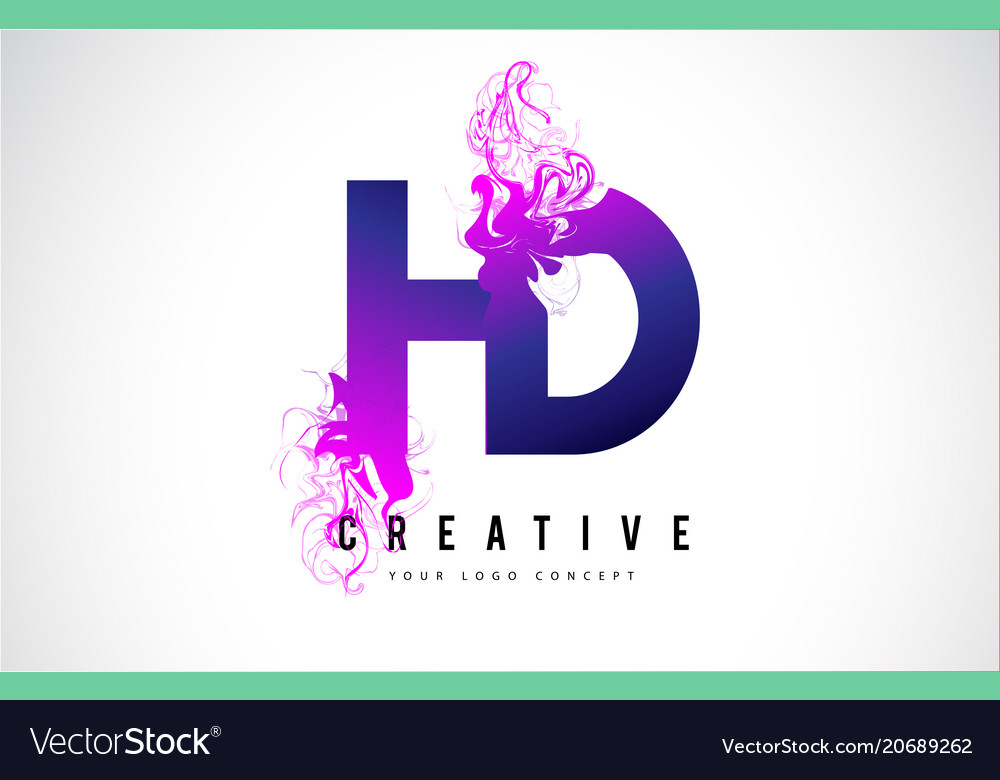 Hd h d purple letter logo design with liquid.