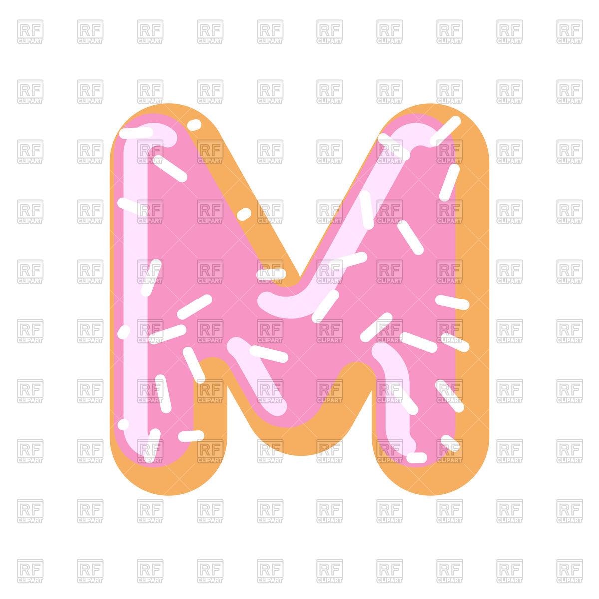 Letter M donut font Stock Vector Image.