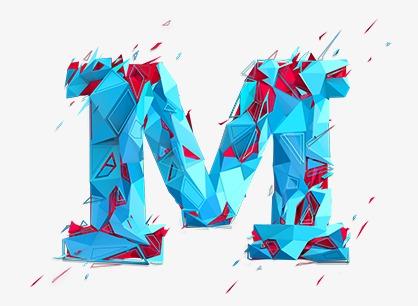 Creative Letter M, Letter Clipart, Creative Letters, Blue.