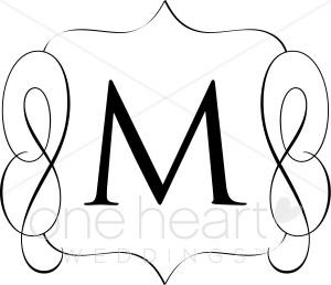 Classic Monogram M Clipart.