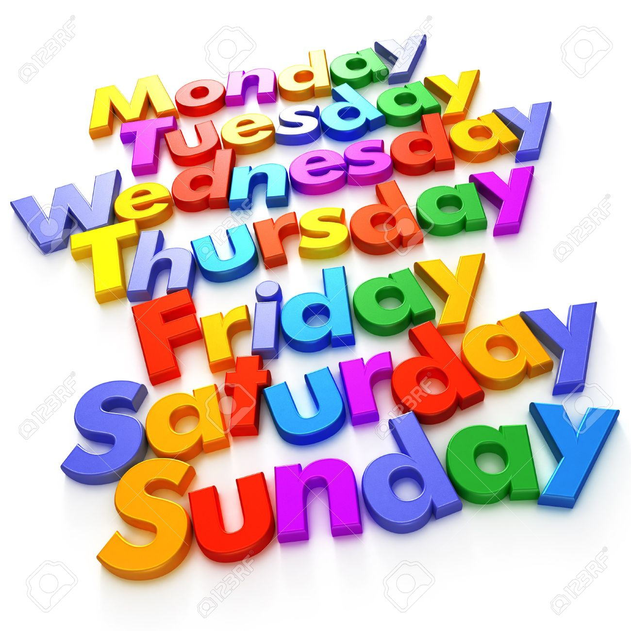 Days Of The Week Formed With Colourful Letter Magnets Stock Photo.