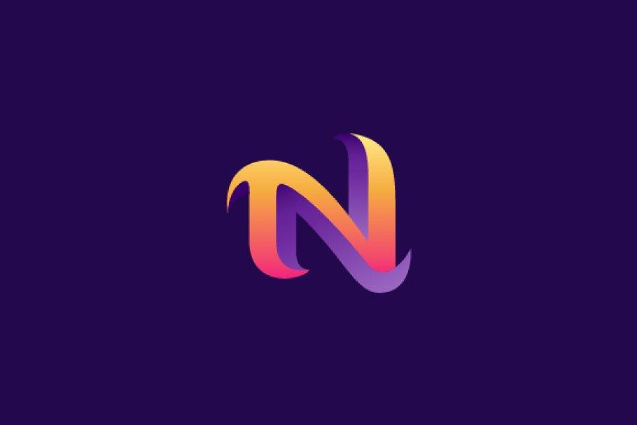 3D Letter N Logo.