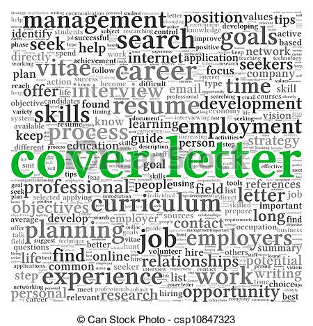 Clip Art of Cover letter concept in word tag cloud on white.
