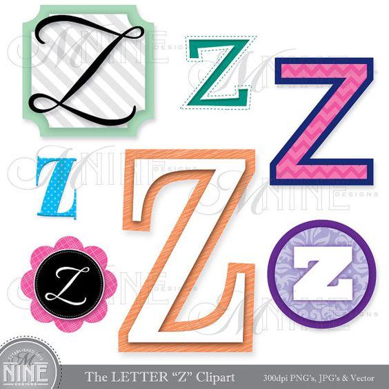 """LETTERS CLIPART Letter """"Z"""" Clip Art Graphics Vector File, Instant."""