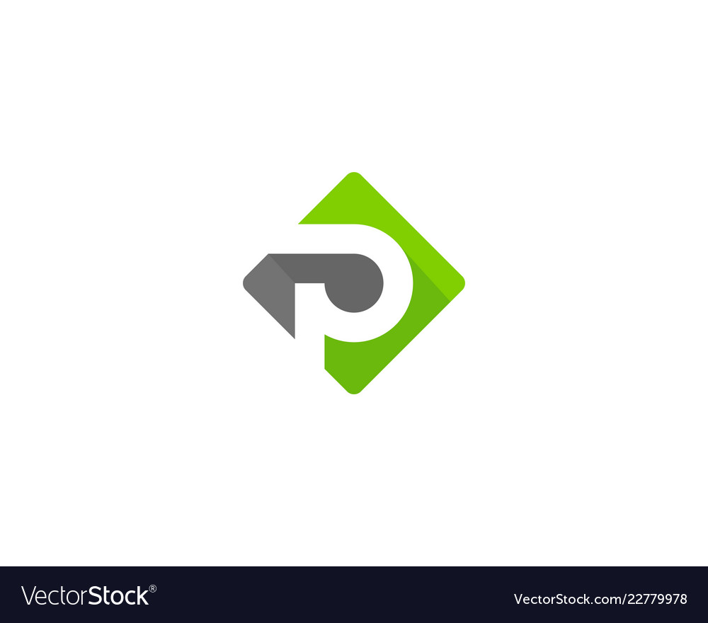 Green letter p logo icon design.