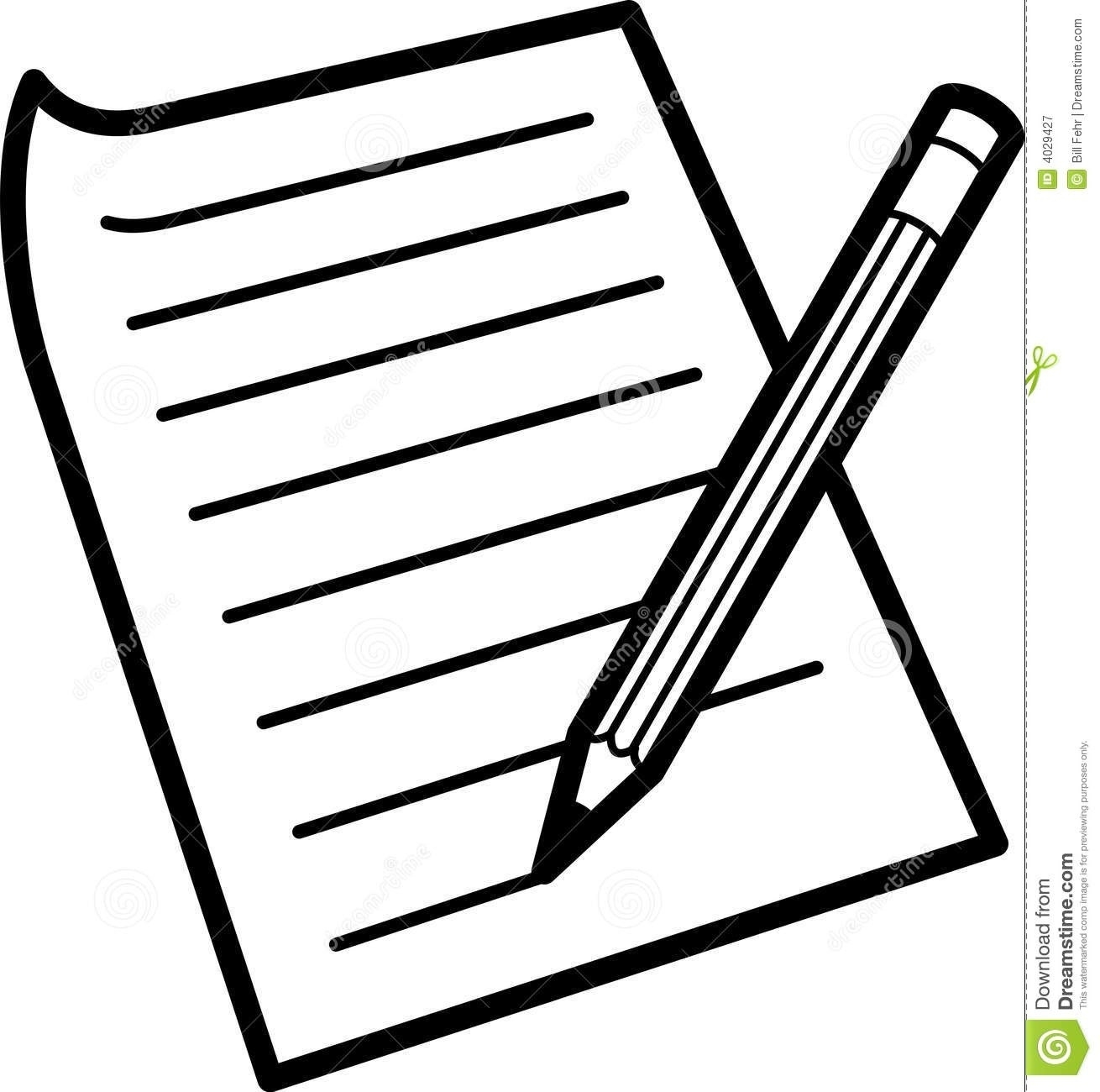 Pen Writing On Paper Clipart.