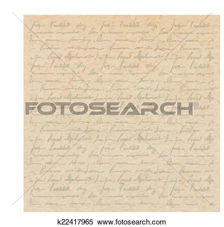 Clipart of Vintage old paper texture with handwriting letter with.