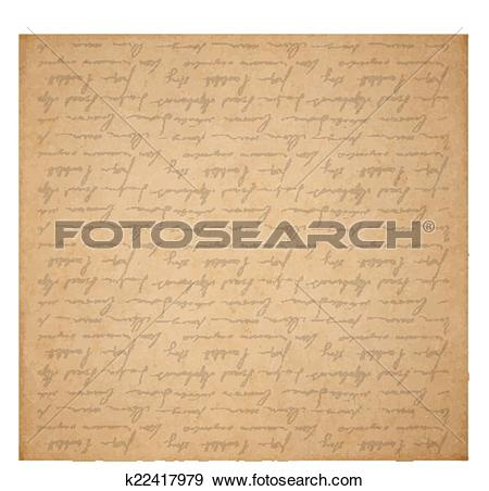 Clip Art of Vintage old paper texture with handwriting letter with.
