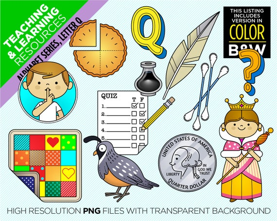 Letter Q, Clipart Alphabet, Beginning Sound Q, 22 images + 2 Coloring Pages.