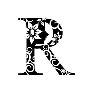 Flower Clipart Black Alphabet R With White Background.
