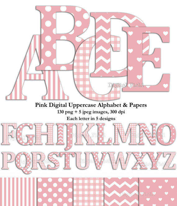 Pink uppercase alphabet clip art set & digital scrapbooking paper.