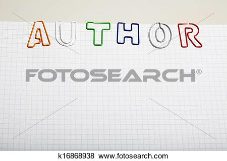 Pictures of Author spelled with Paper clip letters on notepad.
