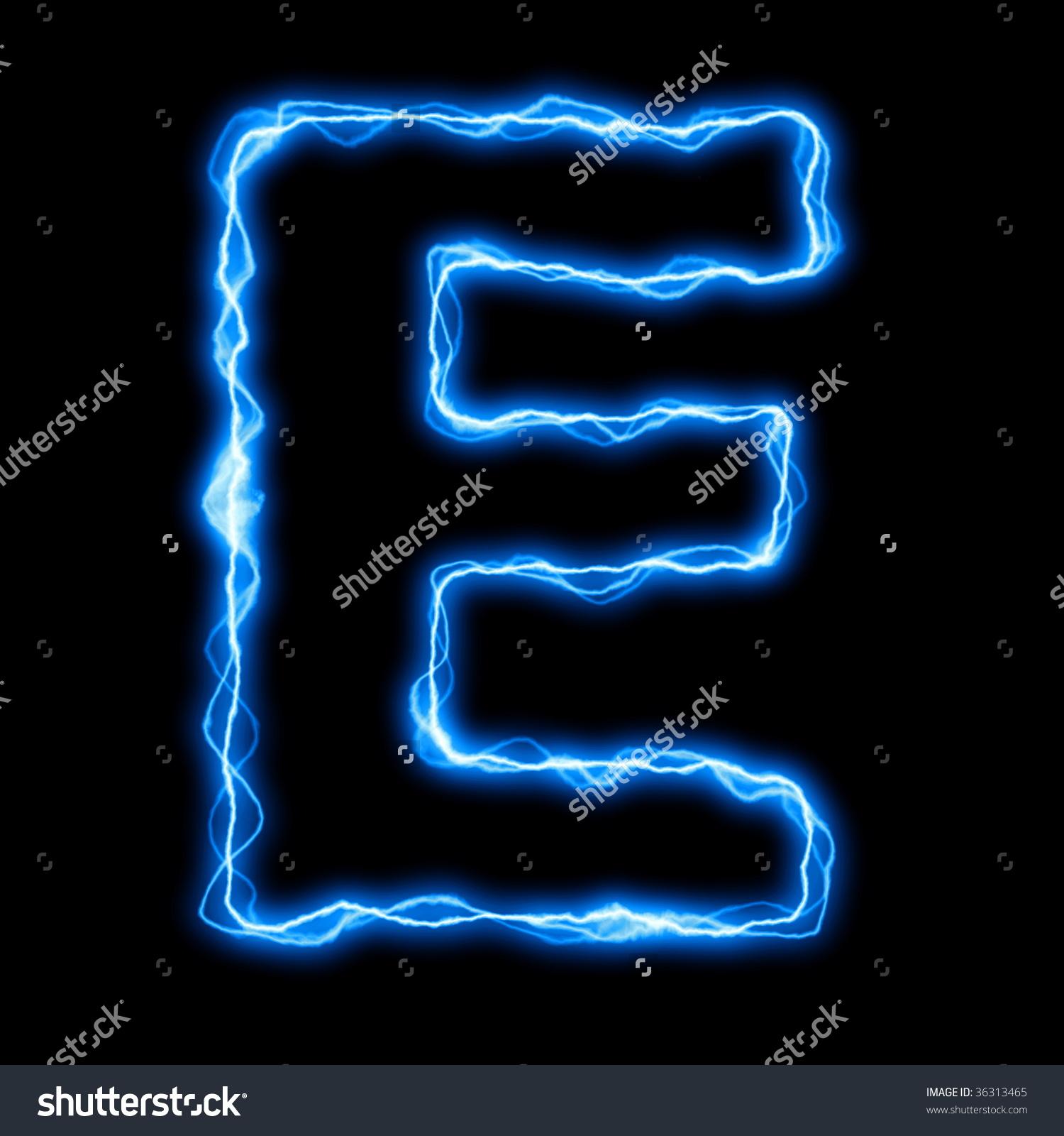 Electric Lightning Flash Font Blue Letters Stock Illustration.