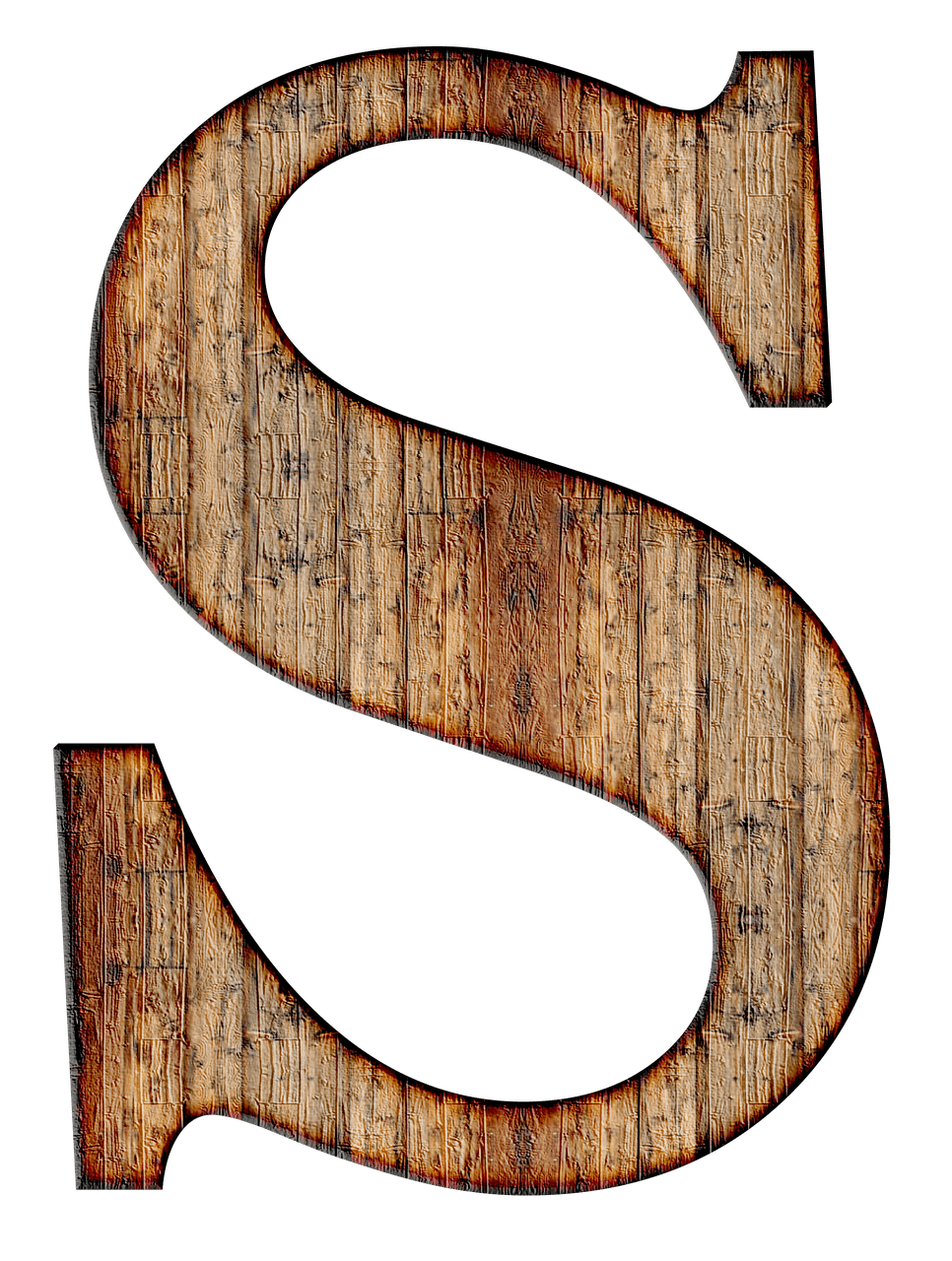 Wooden Capital Letter S transparent PNG.