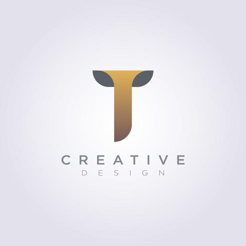 Letter T Vector Illustration Design Clipart Symbol Logo.