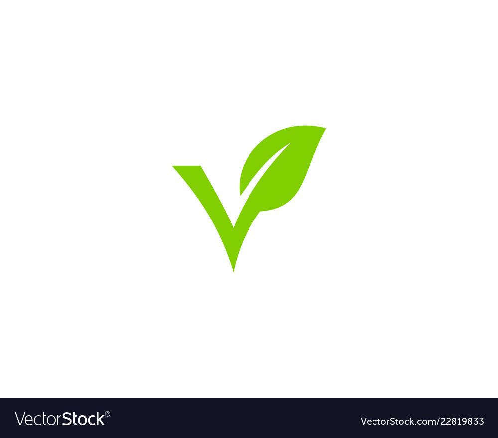 Nature letter v logo icon design.