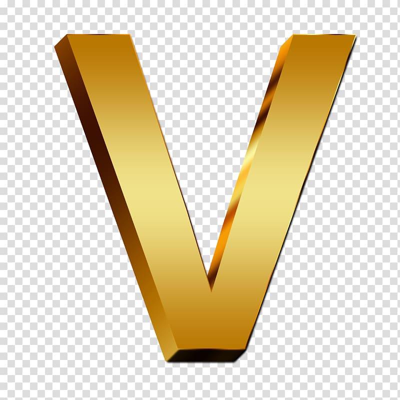 Gold V logo, Letter case Alphabet Gold, gold transparent.