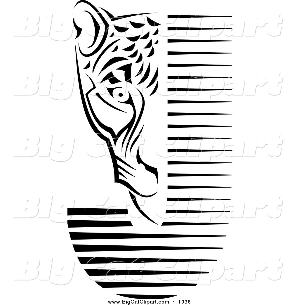 Big Cat Vector Clipart of a Black and White Jaguar Face and Letter.