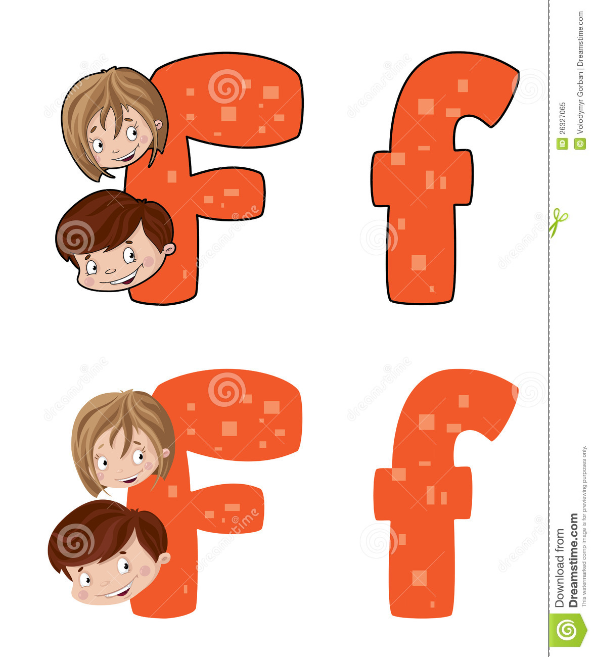 Letter F Face Royalty Free Stock Photo.