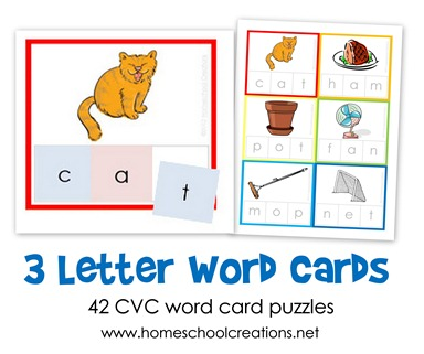 Three Letter Word Cards ~ Free Printable.