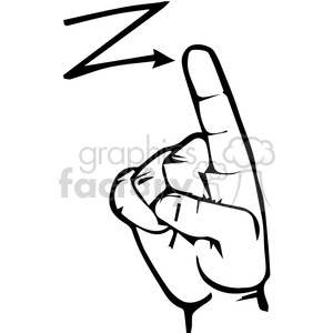 sign language letter Z clipart. Royalty.