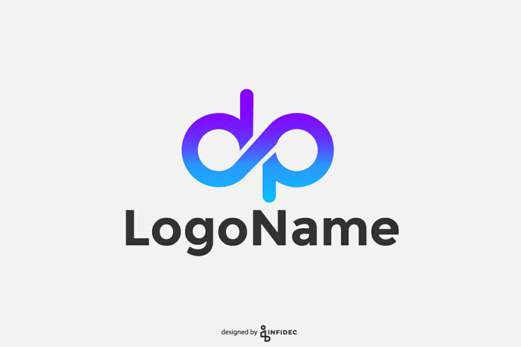 Modern DP letter form logo design.