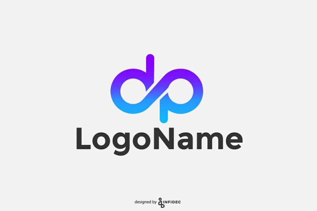 Modern DP letter form logo design.