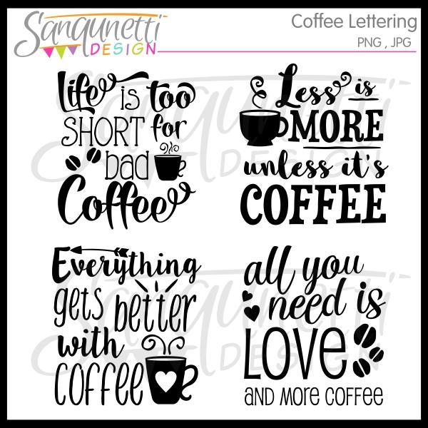 Sanqunetti Design: Coffee Lettering Clipart.